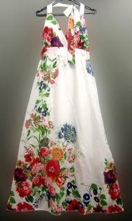 White Black Floral Boho Halter Spaghetti Maxi Dress