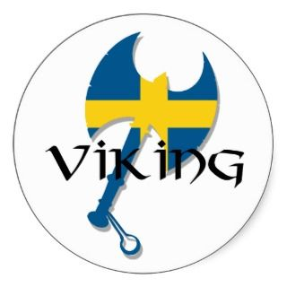 Swedish Viking Sweden flag Axe Round Stickers
