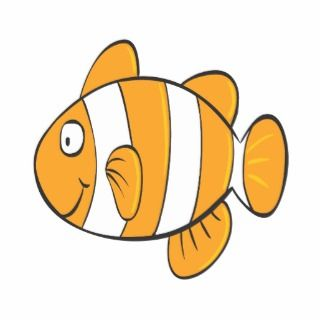 cute happy little clown fish cartoon character cut out