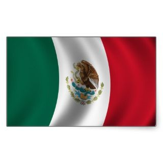Mexican Flag Waving Rectangular Stickers