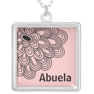 Abuela Necklace Trendy Black Flower on Pink