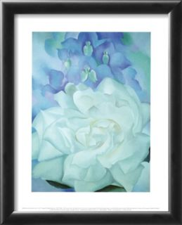 White Rose with Larkspur Pre made Frame