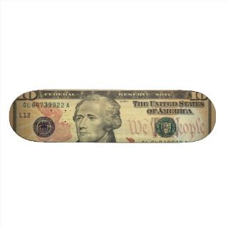 Ten Dollar Bill Federal Reserve Note Series 2004A Skateboard Deck