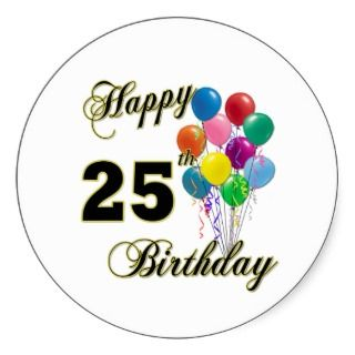 Happy 25th Birthday Gifts with Balloons Sticker