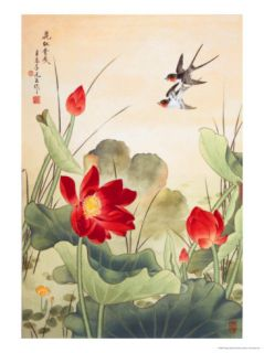 Birds over Lotus Pond Giclee Print by Fangyu Meng