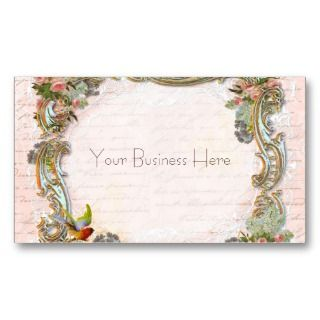 Script Writing and Scrolls on Pink Business Cards