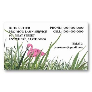 LAWN FLAMINGO IN TALL GRASS ~ BUSINESS CARDS!