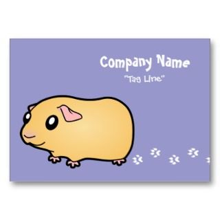 Cartoon Guinea Pig (cream) Business Card Templates