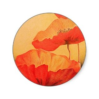 Red Poppy Poppies Colored Pencil Drawing Round Sticker