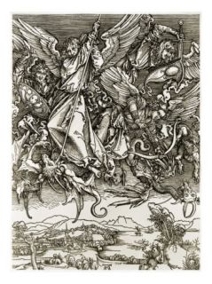 St. Michael Fighting the Dragon Giclee Print by Albrecht Dürer