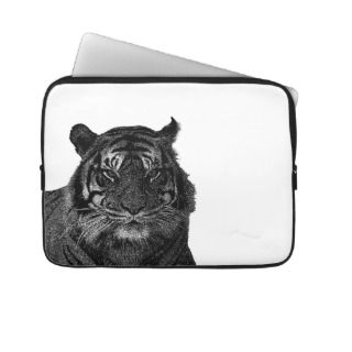 Tiger Endangered Species Wild Cats Black and White Laptop Sleeves