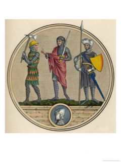 English Soldiers with Axe Sword and Pike Giclee Print by Joseph Strutt