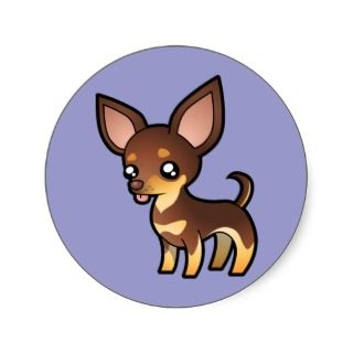 Cartoon Chihuahua (chocolate and tan smooth coat) stickers by