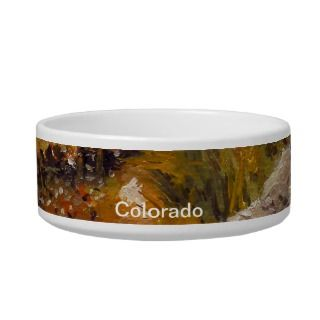 Estes Mountain Lake Oil Landscape Painting Cat Water Bowl