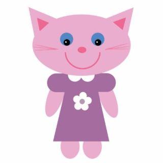 Cute pink cartoon cat brooch / pin cut out