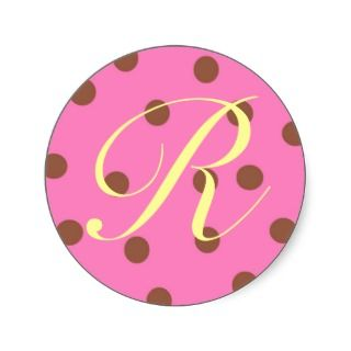 Stickers Pink Brown Monogram R