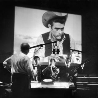 Composer Dimitri Tiomkin Directing the Musical Score for the Last James Dean Movie Produced Giant Premium Photographic Print by Allan Grant