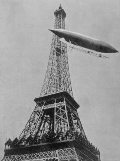 Airship No.5 of French Inventor and Fashion Plate Alberto Santos Dumont Reaching the Eiffel Tower Premium Photographic Print