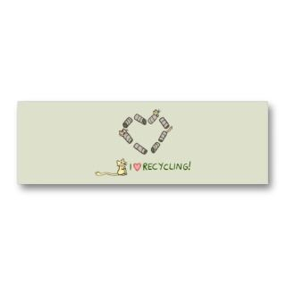 Love Recycling Gerbils Bookmark Business Cards