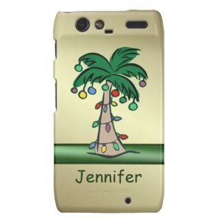 Personalized Tropical Christmas Palm Tree Droid RAZR Covers