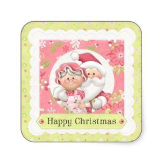 Santa and Mrs Claus Happy Christmas Sticker