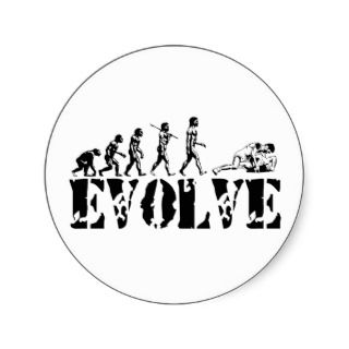 Wrestler Wrestling Wrestle Grapple Evolution Round Sticker