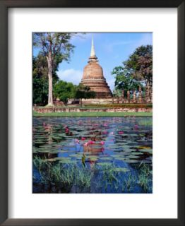 The Lotus Pond and Stupa in Sukhothai Historical Park, Thailand Pre made Frame