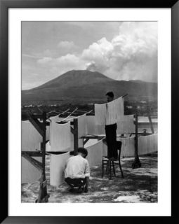 View of Mount Vesuvius from the Town of Torre Annunciata with Men Tending to Drying Pasta Pre made Frame