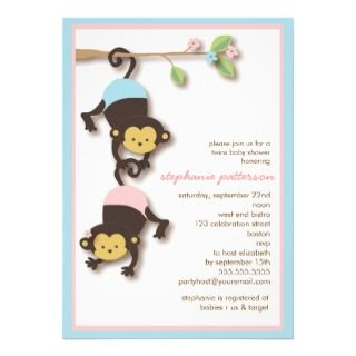 Modern Monkey Twin Girl & Boy Baby Shower invitations by kat_parrella