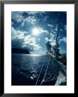 Sailboat Approaching Cocos Island, Costa Rica Pre made Frame