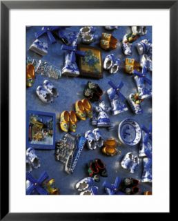 View of Ceramic Magnet Souvenirs of Clogs and Windmills for Sale, Amsterdam, the Netherlands Pre made Frame