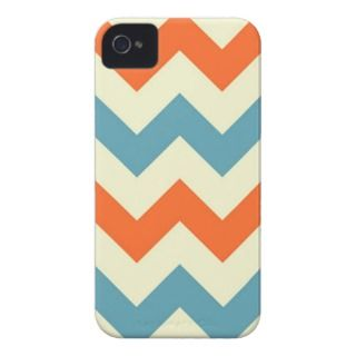 Orange blue chevron zigzag stripes zig zag pattern iPhone 4 case