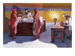 Priests Dressed as Fish Stand Beside Bed of a Sick Boy Giclee Print by H.M. Herget