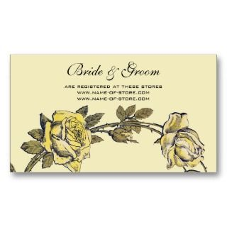 Wedding, Yellow Antique Garden Rose Wreath Business Card Templates