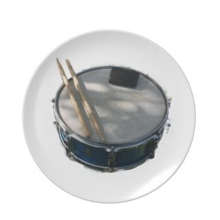 Blue Snare Drum Drumsticks and Muffler Dinner Plate