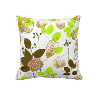 Cute Retro Floral, Green & Brown Throw Pillow