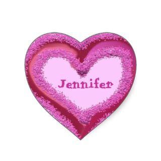 PINK Glitter Heart Sticker   Custom Name