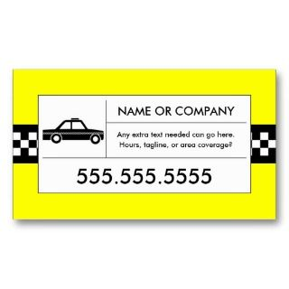checkered taxi cab business cards