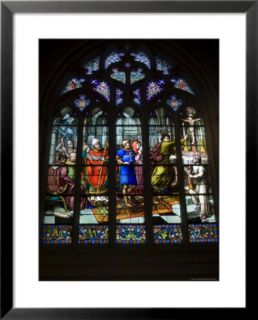15th Century Stained Glass Window in the Cathedrale St Corentin, Southern Finistere, France Pre made Frame