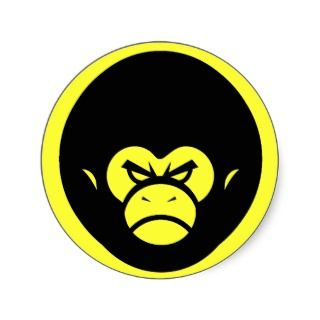 Yellow Million Monkey Logo Round Sticker