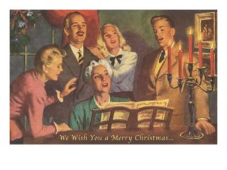 We Wish You a Merry Christmas, Singing Around Piano Giclee Print