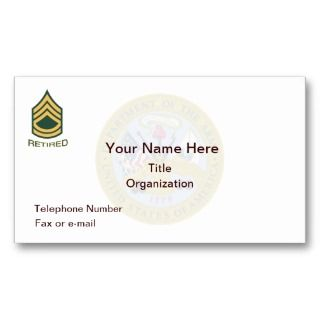 Army First Sergeant Retired Business Card