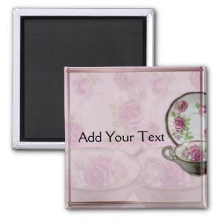 Antique Pink Rose Tea Cup on Mauve Magnet