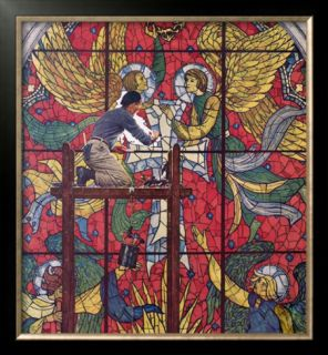 Repairing Stained Glass Framed Giclee Print