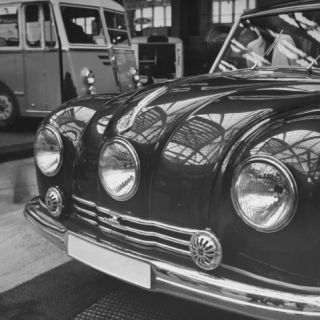 The Czechoslavakian Tatra Features a Third Headlight Being Shown at the Auto Show Premium Photographic Print by Tony Linck