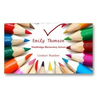 Colorful Pencils Teachers Business Card