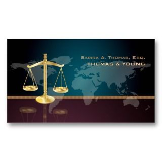 PixDezines attorney, world map Business Cards
