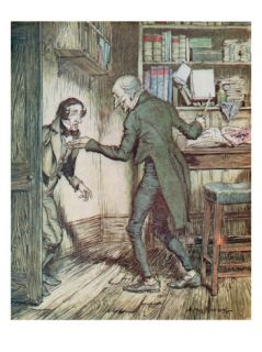 Scrooge and Bob Cratchit, from Dickens A Christmas Carol Giclee Print by Arthur Rackham