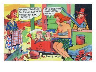 Comic Cartoon   Hillbillies; Mom Asking Daughter if the Travelin Salesman Would Write Print