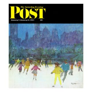 Ice Skating in Central Park, Saturday Evening Post Cover, January 5, 1963 Giclee Print by Frank Mullins